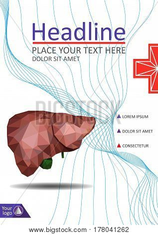Book cover template with Realistic human liver with bile duct and gallbladder in low poly. Good for medical annual report banner book journal conference web. Vector.