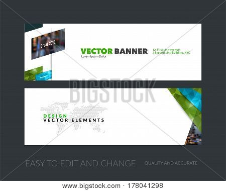 Vector set of modern horizontal website banners with green diagonal, rectangular shapes for industry, beauty, tech, communication. Clean web headers design with overlay effect.