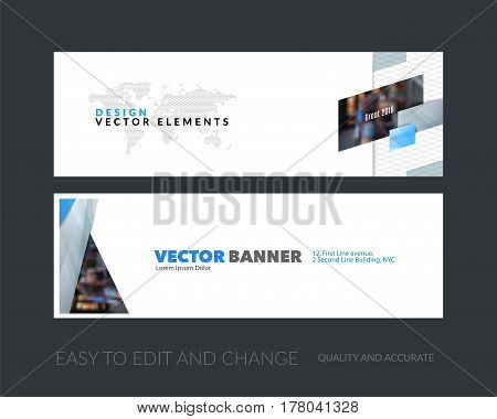 Vector set of modern horizontal website banners with grey diagonal, rectangular shapes for industry, beauty, tech, communication. Clean web headers design with overlay effect.