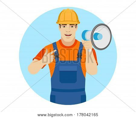 Builder pointing on the loudspeaker. Portrait of builder in a flat style. Vector illustration.