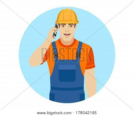 Builder talking on the mobile phone. Portrait of builder in a flat style. Vector illustration.