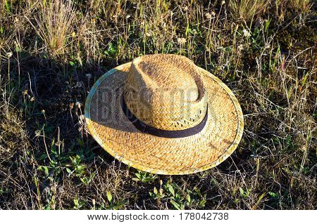 Simple Farmer Yellow Woven Straw Hat On Green Grass Composition