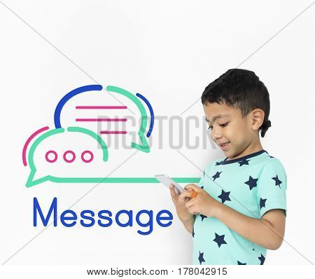 Boy using smart phone and message egraphic