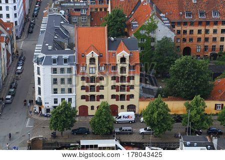 COPENHAGEN, DENMARK - JUNE 29, 2016: It is an aerial view of the historic buildigs of district Christianshavn.