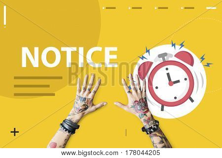 hands with illustration of alarm clock notification for important appointment