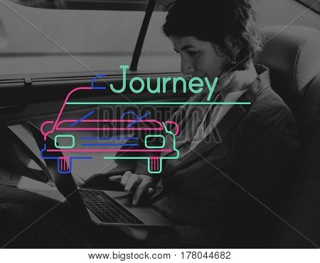 Businesswoman Using Laptop in the Car and Graphic Icon