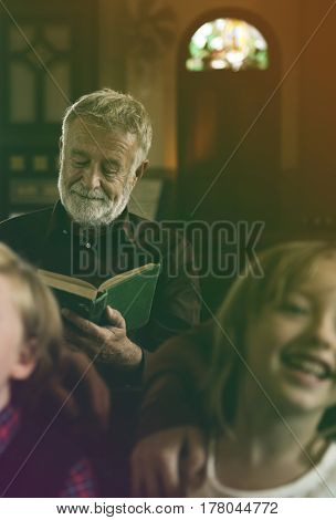 Senior Adult Read Bible Church Religion