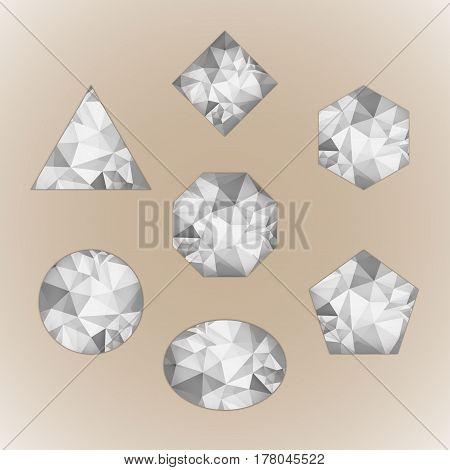 Set of abstract shapes like diamond grayscale color isolated on beige background