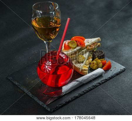 Set Consisting Of Two Sandwiches On White Bread With Sliced Egg, Cucumber, Pickles, Mayonnaise, Sala