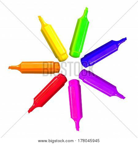 Rainbow Star Of 7 Colorful Pen Markers. Happy Childhood For Children At School Or Kindergarten. Crea
