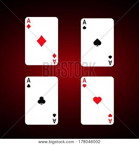 Ace set vector . Diamonds Ace. Spade ace. Club Ace. Playing cards vector set.