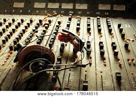 Old Dusty Retro Vintage Mixer And Headphones