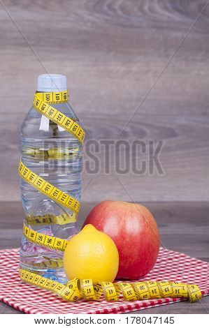 Diet Concept On A Wooden Background