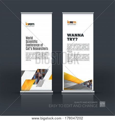 Abstract business vector set of modern roll Up Banner stand design template with yellow diagonal, rectangular shapes for exhibition, show, exposition, expo, presentation, parade, events.