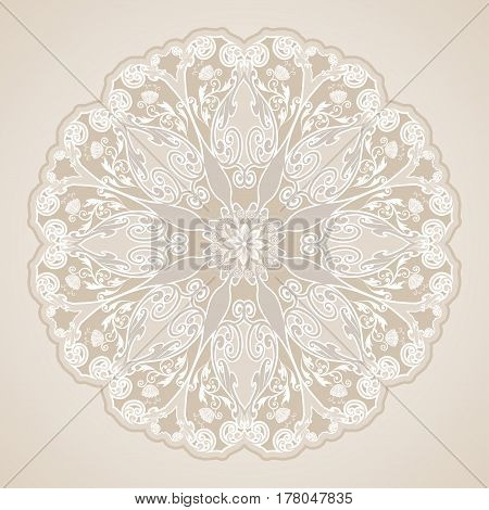 Decorative floral ornament in East style. Silver mandala.