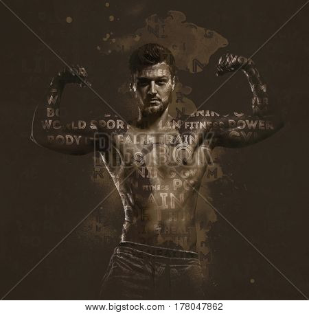 Athletic handsome man showing biceps muscles. Digitally generated image. Conceptual photo.