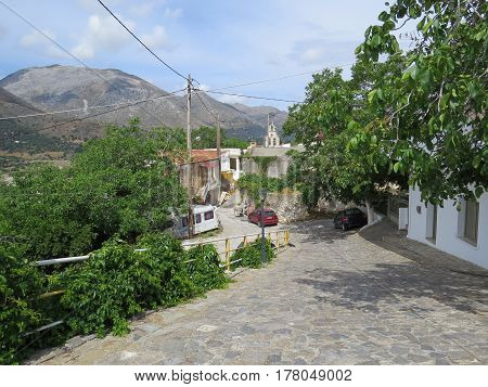 A small village at the crossroads of the mountains of southern Crete, Greece