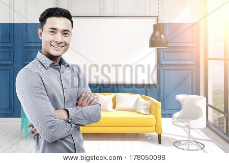 Asian Man In Office And Blank Whiteboard