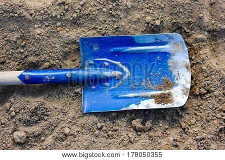 Old Blue Wooden Shovel On A Brown Soil Ground Detail. Work In The Garden In Spring
