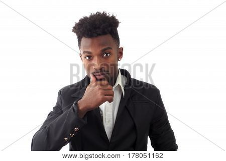 pensive young man thinking portrait in studio