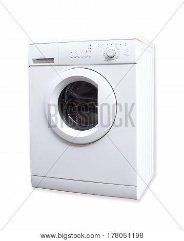 White Used Washing Machine Isolated On White Background