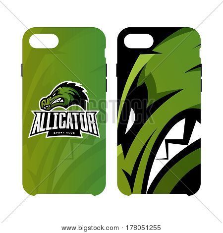 Furious alligator sport vector logo concept smart phone case isolated on white background.  Modern predator professional team badge design. Premium quality wild animal artwork cell phone cover illustration.