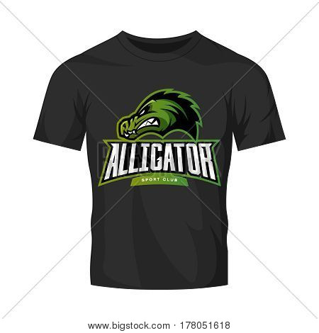 Furious alligator sport vector logo concept isolated on black t-shirt mockup. Modern predator professional team badge design. Premium quality wild animal t-shirt tee print illustration.