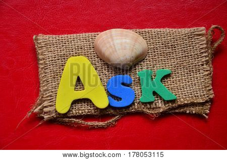 word ask on a  abstract colorful background