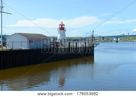Saint John Coast Guard Base Lighthouse in Saint John Harbour, Saint John, New Brunswick, Canada.