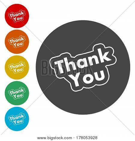 Round thank you icon, simple vector icon