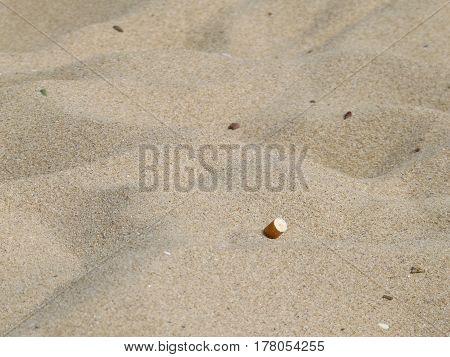 Cigarette butt in the sand on the Bulgarian Black Sea beach