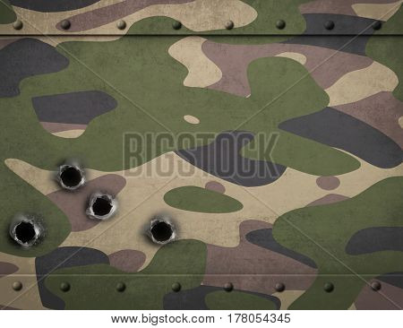 Army camouflage metal armor with bullet holes 3d illustration