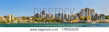 Sydney, Australia - December 26, 2016: Panorama of North Sydney central business district with Lavender Bay and Luna Park