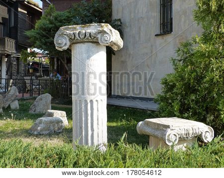 Ancient columns in the old town city of Nessebar, Bulgaria