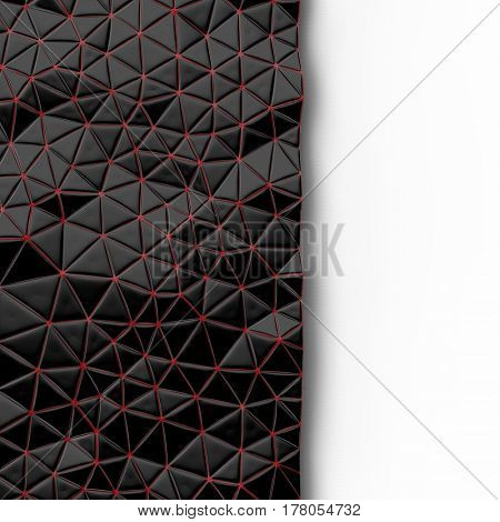 Abstract background of triangle polygons background. Black and red. 3D rendering