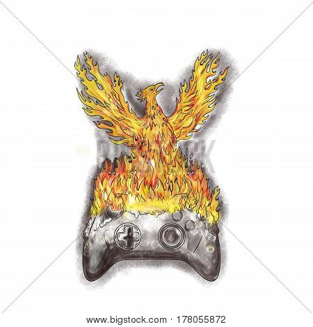 Tattoo style illustration of a phoenix with wings raised for flight rising over burning game controller set on isolated white background.