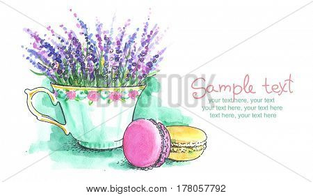 Card with painted watercolor french dessert macaroons and lavender bouquet.