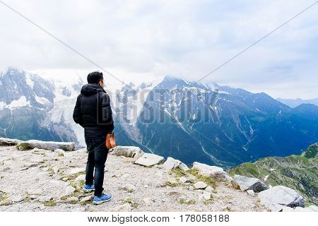 Tourist And Mont Blanc