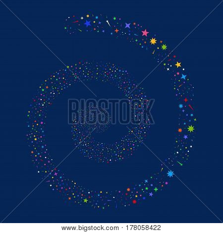 Confetti Stars fireworks vortex spiral. Vector illustration style is flat bright multicolored scattered symbols. Object swirling made from random icons.