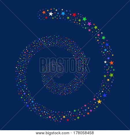 Confetti Star fireworks swirling spiral. Vector illustration style is flat bright multicolored scattered symbols. Object vortex done from scattered design elements.