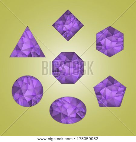 Set of abstract shapes like amethyst violet color isolated on color background