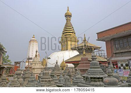 The Swayambhunath Shrine Complex in Kathmandu Nepal