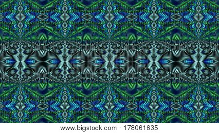 Kaleidoscopic turquoise pattern is computer graphics and it can be used in the design of textiles in the printing industry in a variety of design projects