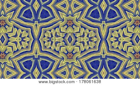 Kaleidoscopic yellow and blue pattern is computer graphics and it can be used in the design of textiles in the printing industry in a variety of design projects