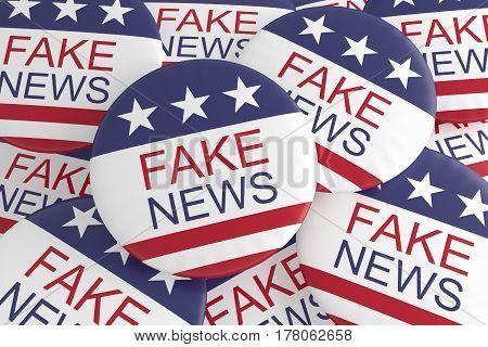 USA Politics Media Buttons: Pile of US Flag Fake News Badges 3d illustration