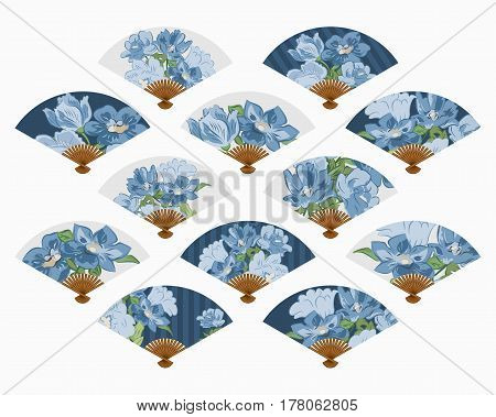 Vector set of isolated fans. The fans set isolated on a light background.