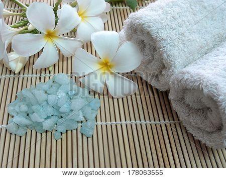 Concept of spa treatment with bath salt