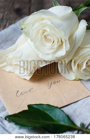Bouquet White Roses Valentine's Day And Letter