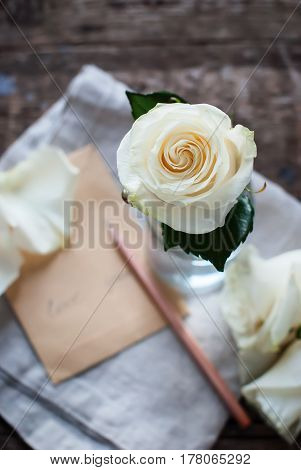 White Rose Glass Letter Pencil Message Love You