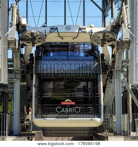 Mt. Stanserhorn, Switzerland - 8 May, 2016: a gondola of the Cabrio cable car at the
